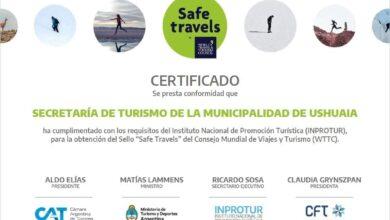 """Photo of USHUAIA CUENTA CON EL SELLO """"SAFE TRAVELS"""""""