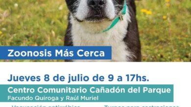 """Photo of """"ZOONOSIS MÁS CERCA"""" ESTARÁ PRESENTE CON UNA NUEVA JORNADA EN EL CENTRO COMUNITARIO CAÑADÓN DEL PARQUE"""